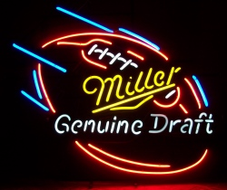 Miller Genuine Draft Beer Football Neon Sign beer sign collection My Beer Sign Collection 2 – Not for sale but can be bought… millergenuinedraftfootball