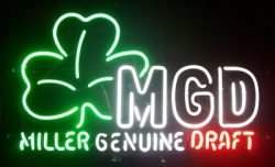 Miller Genuine Draft Shamrock Neon Sign beer sign collection My Beer Sign Collection 2 – Not for sale but can be bought… millergenuinedraftshamrock 2 e1592047189797