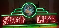 Miller High Life Beer Lady Neon Sign beer sign collection My Beer Sign Collection 2 – Not for sale but can be bought… millerhighlifeladyonmoon