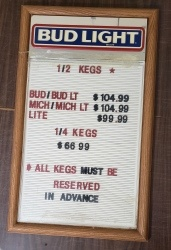 Bud Light Beer Menu Board