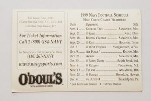 Odouls Beer Navy Football Schedule Card odouls beer navy football schedule card Odouls Beer Navy Football Schedule Card odoulsnavyfootballscedule1999cardrear 300x201