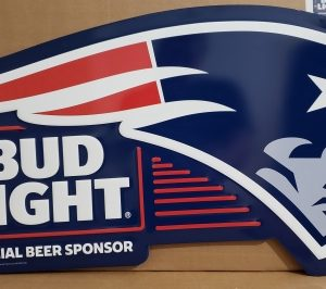 Bud Light Beer NFL New England Patriots Tin Sign