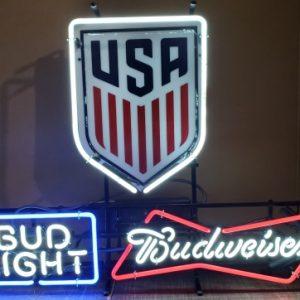 Budweiser Bud Light Beer Soccer Neon Sign