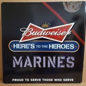 Budweiser Beer Marines Tin Sign