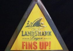 Landshark Lager Fins Up Jimmy Buffet Beer Bar Tin Tacker Sign neon beer signs for sale Home landsharkfinsuptin landscape